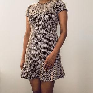 LOFT Tile Jacquard Flounce Work/Office Dress